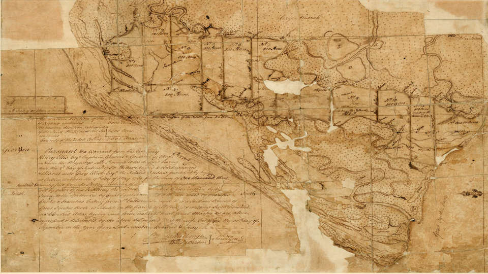 a tattered parchment map of the island