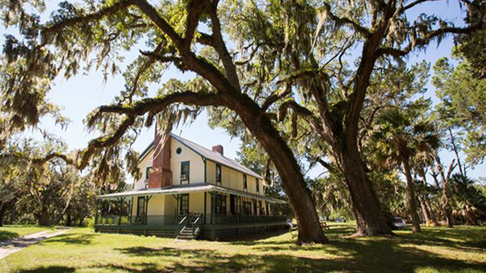 a two-story low-country style building surrounded by live oak trees and sprawling lawns