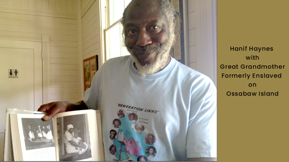Hanif Haynes with a book about his grandmother who was enslaved on the island