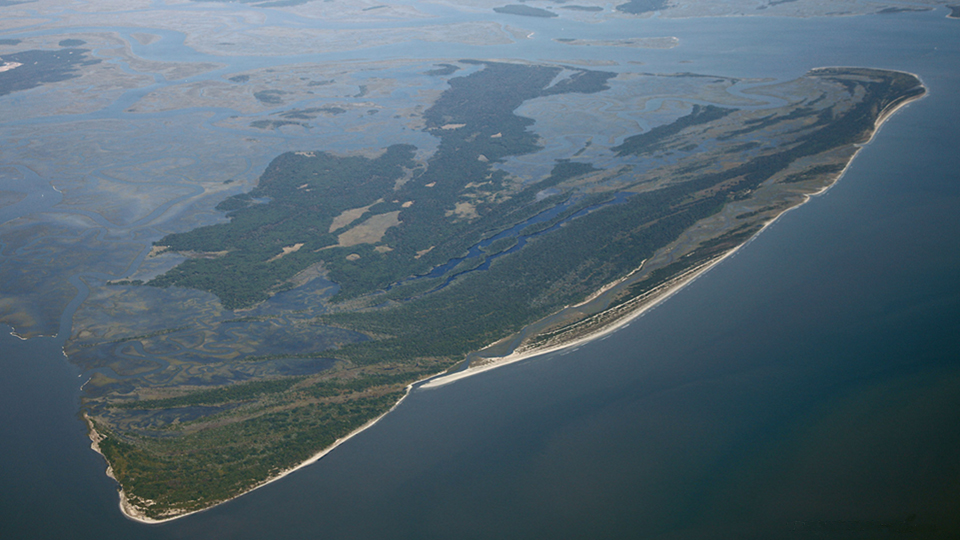 aerial view showing all of Ossabaw Island