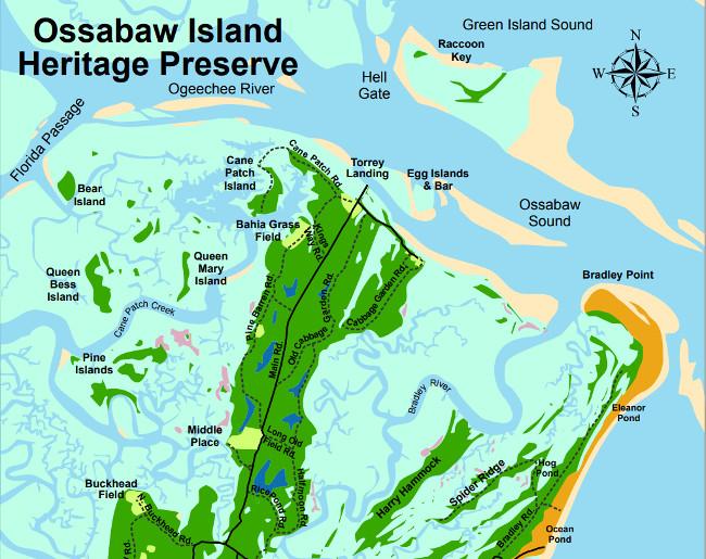 Ossabaw Island Heritage Preserve Map