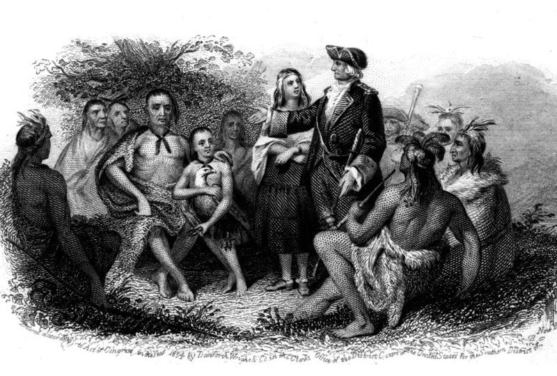 a man and woman dressed in European-style clothing (General Oglethorpe and Mary Musgrove) speak to a group of Native Americans. (including Tomochichi).